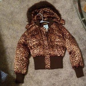 Marciano leopard puffer coat